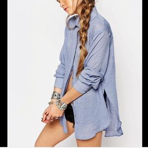 Free People that's a wrap chambray shirt